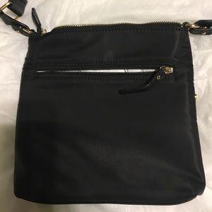 Black matte satin canvas crossbody bag